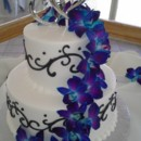130x130 sq 1384971107651 wedding cake white with black scroll electric blue