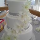 130x130 sq 1384971183659 white orchid bling ribbon wedding cak