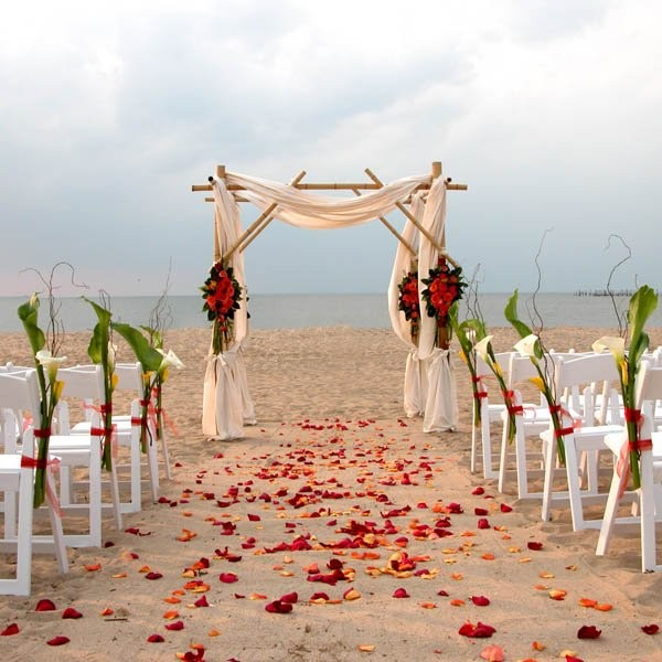 Beach Wedding Altar Decorations: Green Orange Yellow Aisle Markers Altar/Arch Arrangements