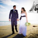 Wedding couple walking along sandy beach with blue ocean in background. Inset photo of couple in black and white.