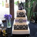 Damask and Monogram cake. Custom designed gum paste topper.
