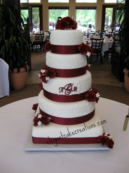 Square Wedding Cake With Burgundy Roses Red White Monogrammed Multi Shape Round
