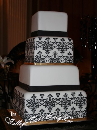 Cheap wedding cakes for the holiday: Square black and white wedding ...
