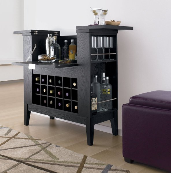 <b>Parker Spirits Cabinet</b><br>Two bartop leaves flip open to perch drinks and snacks, while revealing generous bottle storage. 18-bottle wine bin.