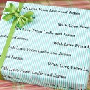 Personalized Gift Wrap: a customized message, printed on your choice of gift wrap, makes the packaging as personal as the gift inside. Perfect for gifts for bridesmaids, groomsmen, flower girls, shower hostesses.