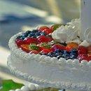 Close Up of Glazed Fruit atop a Cheesecake Wedding Cake