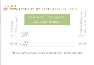 RSVP Card with Menu Options | Weddings, Etiquette and ...