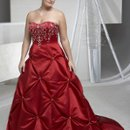 * Silhouette: A-line * Neck: Bateau * Waist: Princess * Sleeves: Sleeveless * Train: Chapel * Beading: Crystals, Glass Beads, Sequins and Embroidery * Material: Matte Satin * Accessories: 1