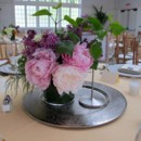 130x130 sq 1446562543778 pink centerpiece on silver charge