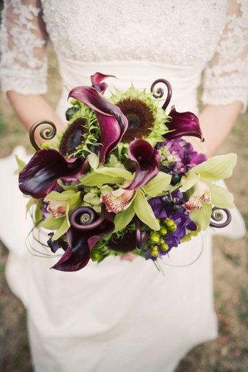 Purple Flowers For October Wedding : Brown burgundy green purple bouquet fall wedding flowers