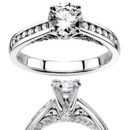 Contemporary meets classic look. This channel setting engagement ring enhanced with scroll design and pave set bridge. This beautiful engagement rings features 0.31 ct. tw. GH/SI diamonds. This engagement ring is available in 14k, 18k gold, platinum and palladium.