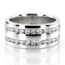 Double the power! This double row channel set diamond wedding band is set with 32 round cut diamonds totaling 0.96 ct.tw. This men's diamond wedding band is available in white gold, yellow gold, platinum or palladium.