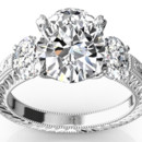 130x130 sq 1382624462971 oval three stone antique engagement ring