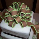 130x130 sq 1465568026446 brown bow w green edge on 3 tier sq cake