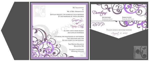 beautiful charcoal purple and lavendar wedding with damask swirls in a signature side pocket envelopment - Purple And Silver Wedding Invitations