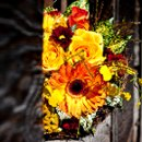 Lush bouquet in vivid colors done for a very hot day at a rustic location.