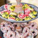 This is an example of the variety of candy and sweets we provide and could provide you for a candy buffet at your wedding or event. Sweet City Candy provided the Chocolate Covered Pretzels with Rainbow Sprinkles for this rustic event.