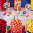 This is an example of the variety of candy we provide and could provide you for a candy buffet at your wedding or event. Sweet City Candy provided the candy for this amazing Rainbow themed birthday party. It included jelly beans, gum balls, Sixlets, Whirly pops, and Rock Candy.
