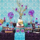 This is an example of the variety of candy and sweets we provide and could provide you for a candy buffet at your wedding or event. Sweet City Candy provided the candy for this blue and purple candy buffet. It included candy fruit slices, Rock Candy, Gum Balls, Gummy Bears and Jelly Beans.