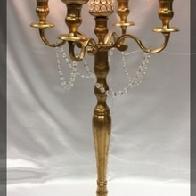 220x220 sq 1447103814 d223ec4d9ed641fe gold candlebra with crystal votives 33 inches  110003