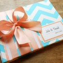 130x130 sq 1430504047648 aqua cheveron guest book peach