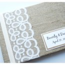 130x130 sq 1430504071172 rustic burlap lace wedding guest book