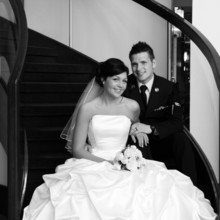 220x220 sq 1495473779004 black and white bride and groom on staircase