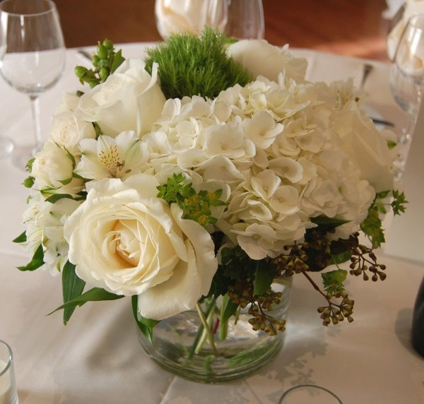 Classic romantic green white ballroom centerpiece