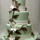 130x130 sq 1390944615842 green20and20chocolate20brown20wedding20cake20with2
