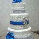 130x130 sq 1391359254752 royal blue bling lace wedding cake a 00