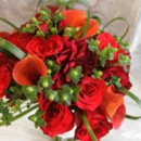 130x130 sq 1381884174845 bouquet   mixed reds with modern green accents