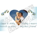 Embroidered Flowers with Photo Heart - Photo's are always free at S & R Favors! Order online at www.srfavors.com design code W166