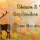 Deer silhouettes with fall background. From this day forward Order online at www.srfavors.com design code W298