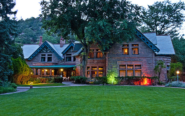 1443986692966 Briarhurst Manor Front Lawn Evening 1624 Manitou Springs wedding venue