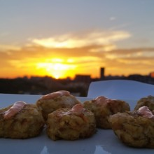 220x220 sq 1417467340639 tot crab cakes with sunset in backgroung
