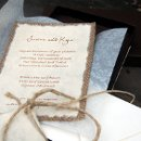 This invitation is printed on handmade mullberry paper and back with real burlap. Customized to your needs, the front card can have your initials, your wedding symbol, anything you would like.