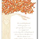 This whimsical invitation is perfect for your wedding event! The white invitation features a tree with multi colored fall leaves. We've fallen in love is printed on one of the branches. Your monogram may be printed within the tree in the font shown. Coordinating enclosure cards, envelope seals and envelope lining are available.