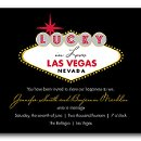 Try your luck in love! This black Las Vegas themed wedding invitation features a sign at the top that resembles the Welcome to Las Vegas sign. The wording on the sign will be printed as shown. Coordinating enclosure cards are available.