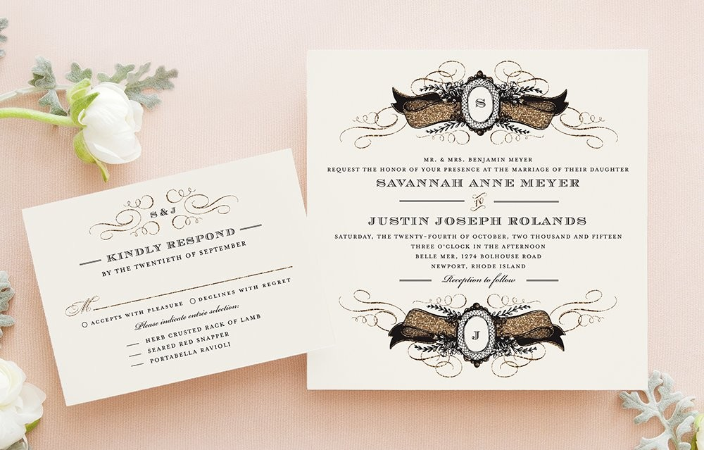 Wedding Invitation Diva: Formal Hollywood Glam Vintage Fall Invitations Reply Cards