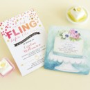 One Last Fling Bachelorette Party Invitation in Blaze Designed by: East Six Design for Wedding Paper Divas Aquarelle Confection Bridal Shower Invitation in Paradise Designed by: Lana Frankel for Wedding Paper Divas