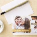 Blissful Bond Thank You Card in Gilded Designed by: Jenny Romanski for Wedding Paper Divas