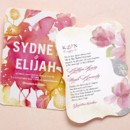 Blooming Together Wedding Invitation in Fuchsia Designed by: Stina Persson for Wedding Paper Divas Softly Gilded Wedding Invitation in Lipstick Designed by: Coloring Cricket for Wedding Paper Divas