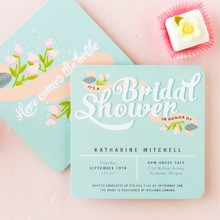 Bridal Banner Bridal Shower Invitation in Sea Glass Designed by: Julia Tuohy for Wedding Paper Divas