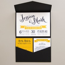 Merriment to Follow Wedding Invitation in Citrus Shown with Response Card, Enclosure Card and Pocket Fold Designed by: East Six Design for Wedding Paper Divas