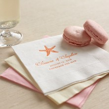 Stylish Starfish Personalized Wedding Napkins Designed by: Jenny Romanski for Wedding Paper Divas