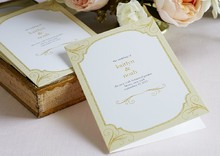 Golden Forever Wedding Program in White Designed by: Magnolia Press