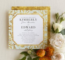Gilded Lilies Wedding Invitation in Aloe Designed by: Jenny Romanski for Wedding Paper Divas