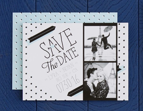 Polka Dotted Passion Save the Date Card in Powder Blue Designed by: Magnolia Press