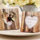 """Rustic Romance"" Faux-Wood Heart Place Card Frame Wedding Favors http://www.littlethingsfavors.com/rrofaheplcah.html"