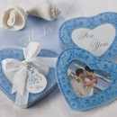 Gorgeous yet subtle blue damask on blue provides an elegant surround for these unique heart shaped photo bridal shower or wedding favor coasters.